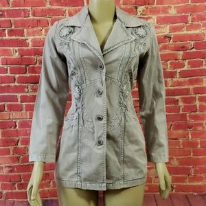 Newport news easy style gray Embroidered jacket 6